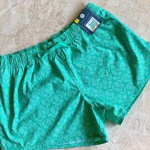 New Lauren James Geometric Aqua Nylon Beach Shorts